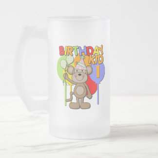 Monkey 1st Birthday Frosted Glass Beer Mug