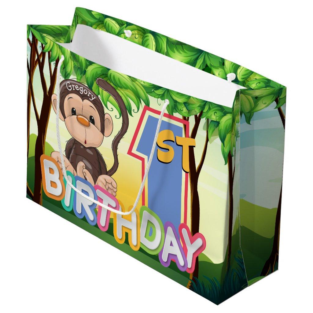 Monkey 1st Birthday Party Custom Large Gift Bag