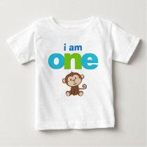 Monkey 1st Birthday Tshirt Toddler Baby Kid