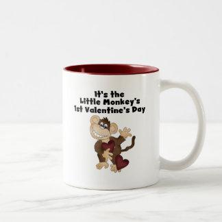 Monkey 1st Valentines Day Tshirts Two-Tone Coffee Mug