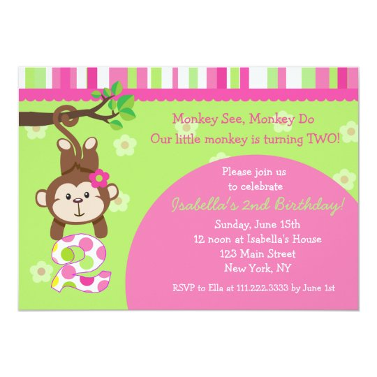 Monkey 2nd Birthday Party Invitations