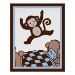 Monkey 3 Jumpin on Bed Wall Art Poster/Print Poster