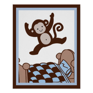Monkey 3 Jumpin on Bed Wall Art Poster/Print