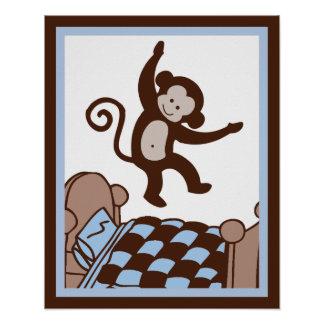 Monkey 4 Jumpin on Bed Wall Art Poster/Print
