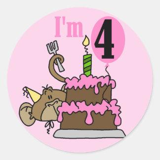 Monkey 4th Birthday Tshirts and Gifts Classic Round Sticker