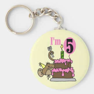 Monkey 5th Birthday Tshirts and Gifts Basic Round Button Keychain