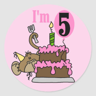 Monkey 5th Birthday Tshirts and Gifts Classic Round Sticker