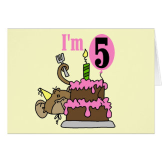 Monkey 5th Birthday Tshirts and Gifts Greeting Card
