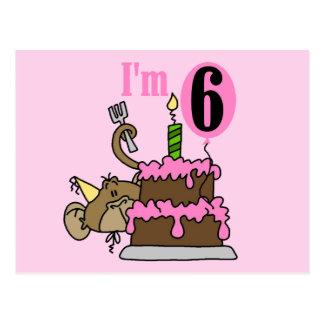Monkey 6th Birthday Tshirts and Gifts Postcard