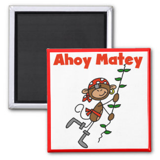 Monkey Ahoy Matey Tshirts and Gifts 2 Inch Square Magnet