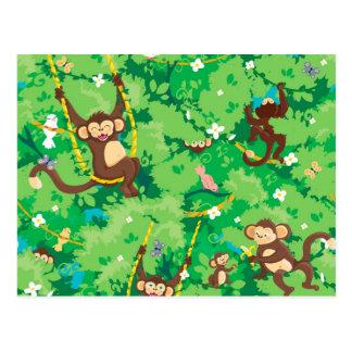 Monkey alrededor el modelo tarjeta postal