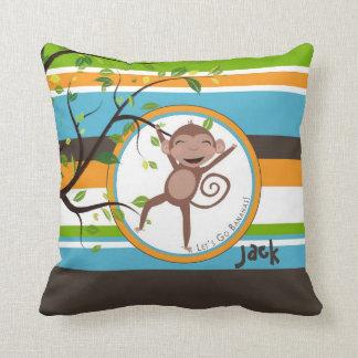 Monkey alrededor la almohada personalizada cuadrad