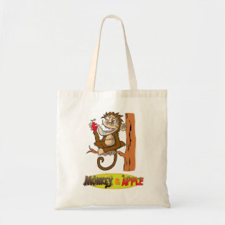 Monkey and Apple tote Bags