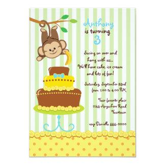 Monkey and Banana Cake Boys Birthday Card