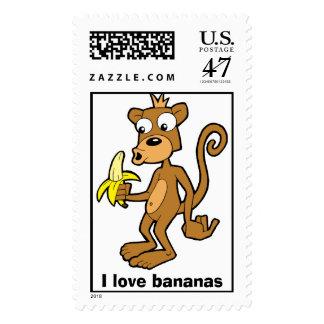 Monkey and Banana, I love bananas postage stamp