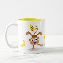 Monkey and Bananas Two-Tone Coffee Mug