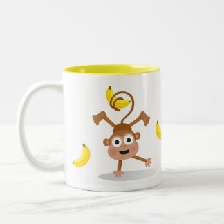 Monkey and Bananas Two-Tone Coffee Mug
