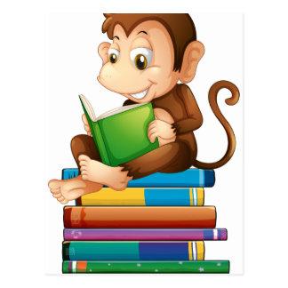 Monkey and books postcard