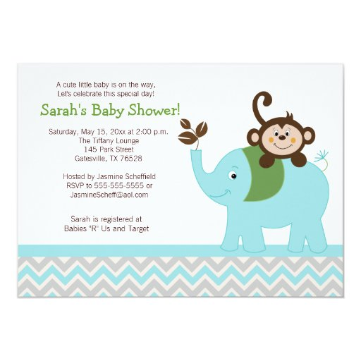 Monkey and Elephant Blue/Silver Chevron Invitation