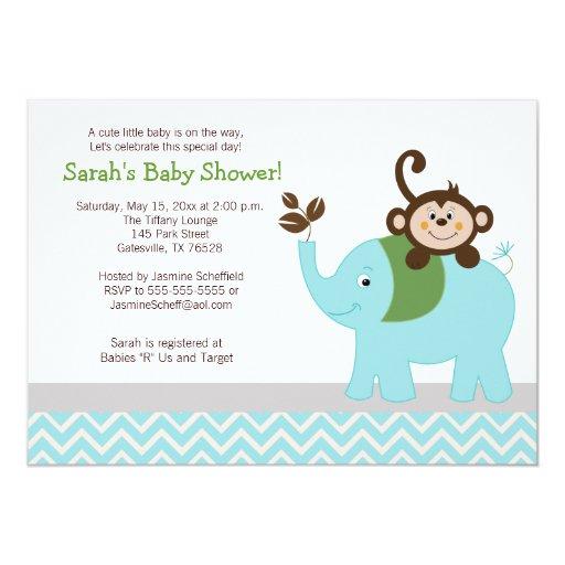 Monkey and Elephant Light Blue Chevron Baby Shower Card