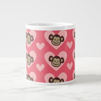 Monkey and Hearts Large Coffee Mug