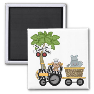 Monkey and Hippo Train Tshirts and Gifts Magnet