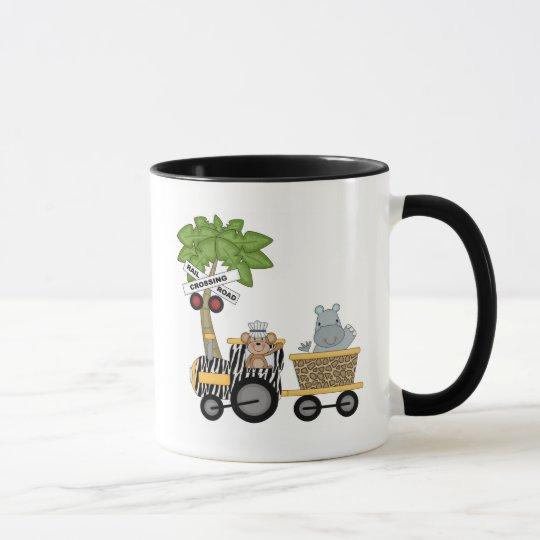 Monkey and Hippo Train Tshirts and Gifts Mug