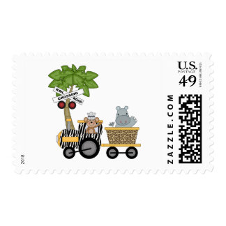 Monkey and Hippo Train Tshirts and Gifts Postage