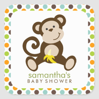Monkey and Polka Dots Square Sticker