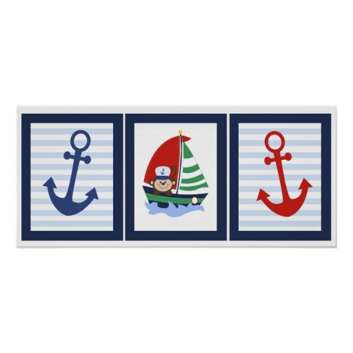 Monkey and Sailboat Wall Art Set of 3