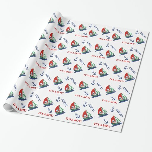 Monkey and Sailboat Wrapping Paper (Customized)