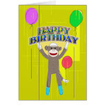 Monkey and the balloons. greeting card