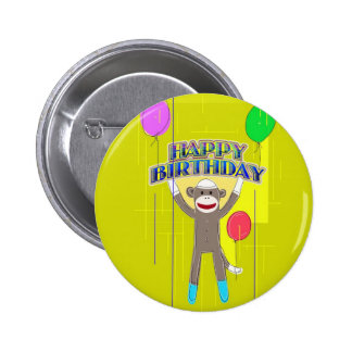 Monkey and the balloons. pinback button