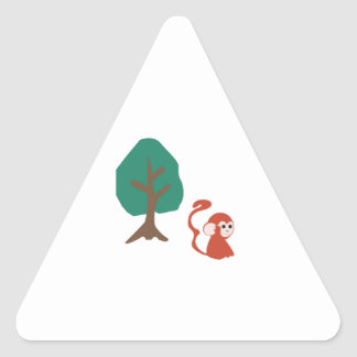 Monkey And Tree Triangle Stickers
