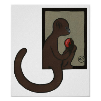 Monkey - Antiquarian, Colorful Book Illustration Poster