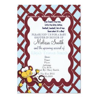 Monkey Around Baby Shower Invitation - Blue