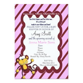 Monkey Around Baby Shower Invitation - Pink
