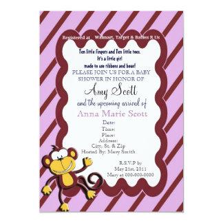 Monkey Around Baby Shower Invitation - Purple