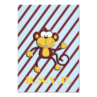 Monkey Around Baby Shower R.S.V.P. Card - Blue