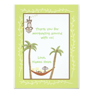 Monkey Around Baby Shower Thank you notes Card