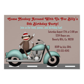 Monkey Around Motorcycle Birthday Card