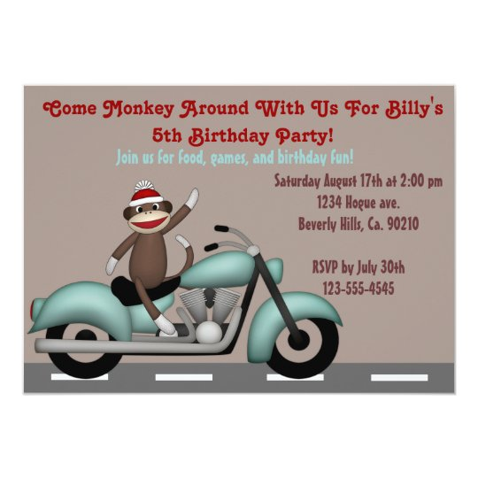 motorcycle birthday pictures  Monkey Around Motorcycle Birthday Invitation | Zazzle.com