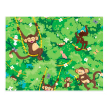 Monkey around pattern postcard