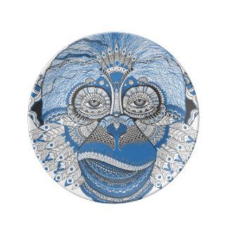 Monkey art porcelain plate