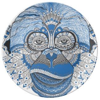 Monkey art porcelain plates