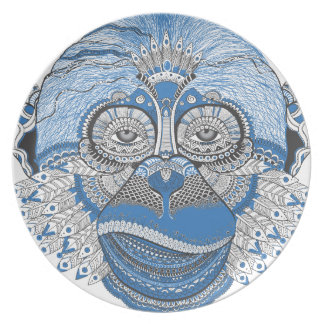 Monkey art plate