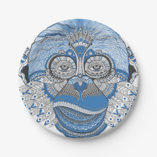 Monkey art 7 inch paper plate
