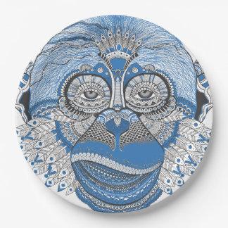 Monkey art 9 inch paper plate