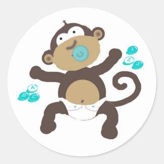 Monkey baby boy abc's & 123's classic round sticker