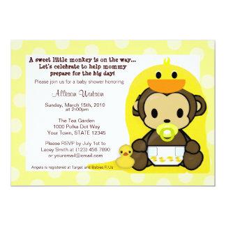 "Monkey Baby Duckie Bath Shower Invitation 5"" X 7"" Invitation Card"